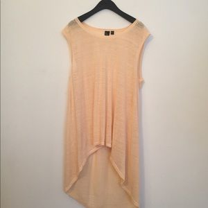 Eileen Fisher pink linen high low sleeveless top